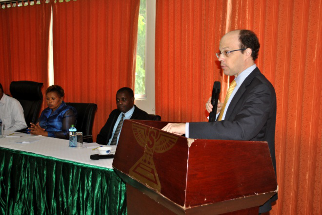 His Excellence David Engel High Commissioner to Canada in Kenya presenting his remarks during the official opening of the workshop